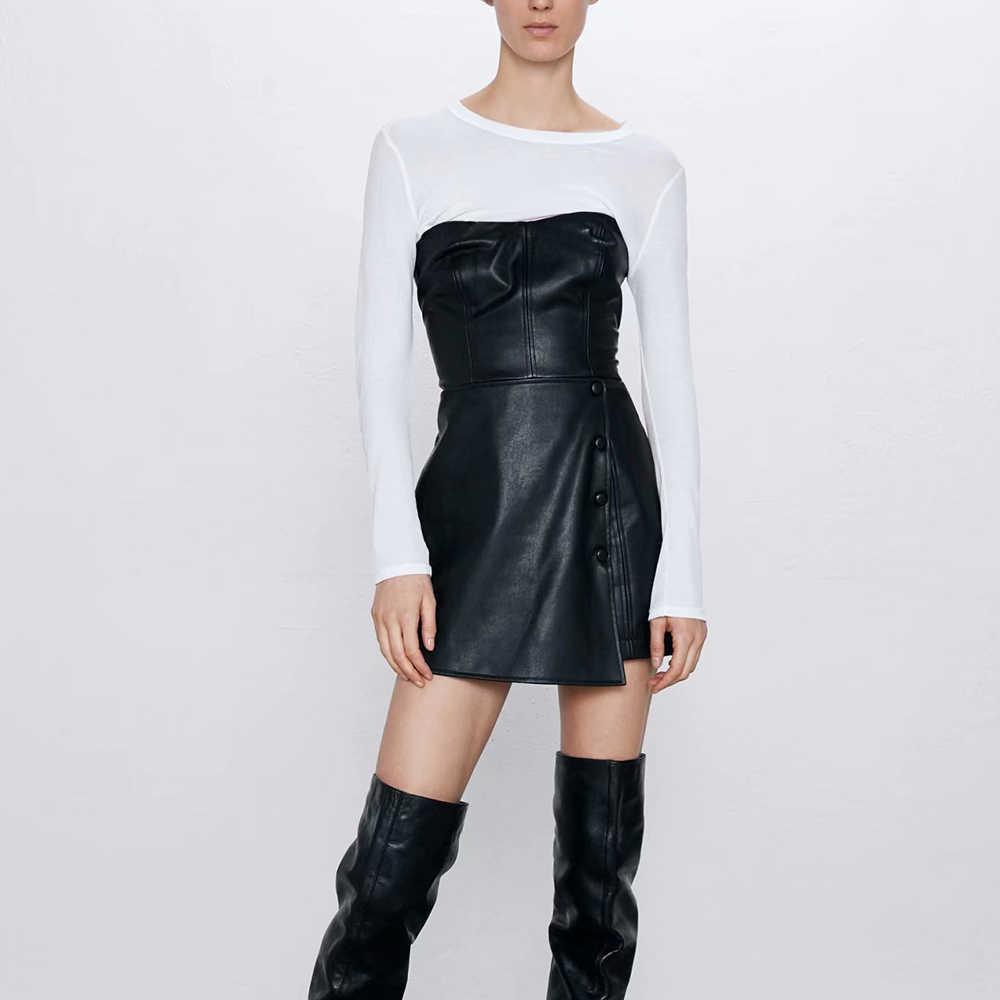 ZA جديد ربيع المرأة الأسود الصلبة بولي strapless حمالة سحابات فستان فوق الركبة موضة مثير ملابس غير رسمية الإناث