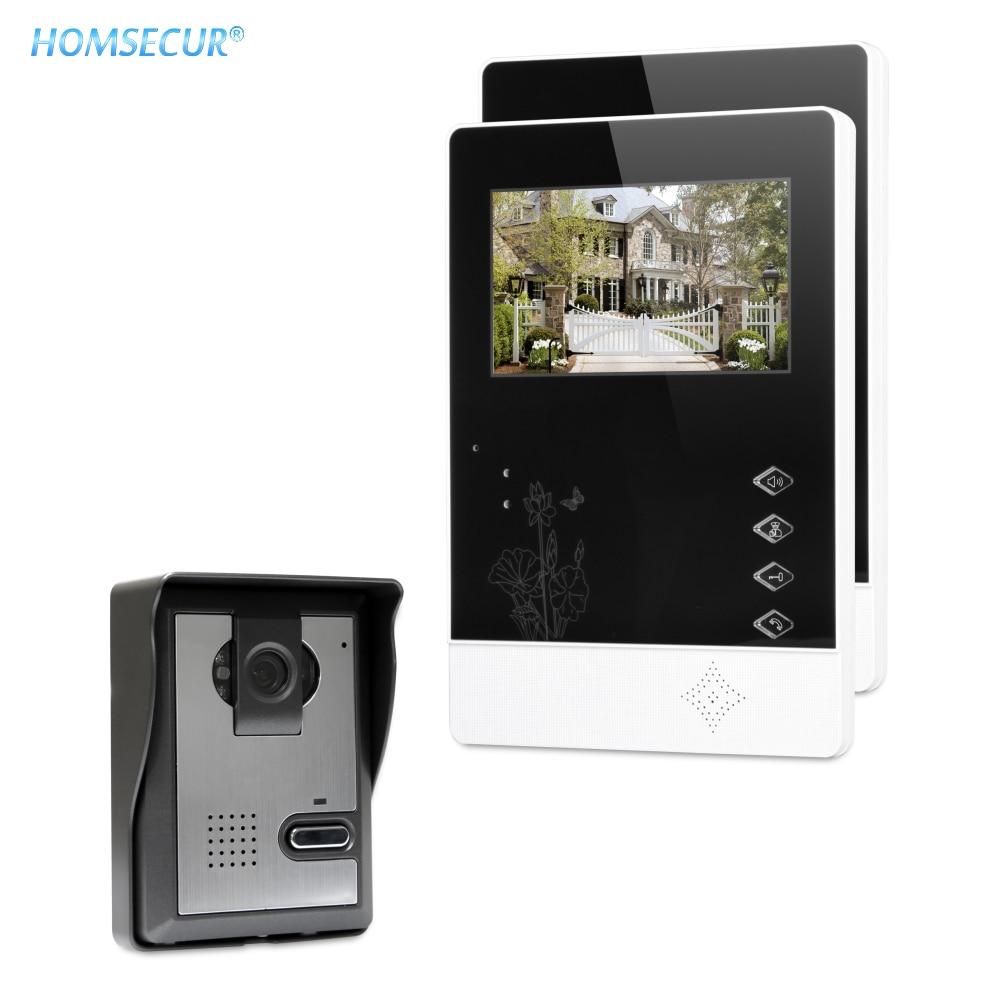 """HOMSECUR 4.3"""" Wired Smart Video Door Phone Doorbell Intercom System 700TVLine Camera Durable Rainproof Cover XM403+XC005"""