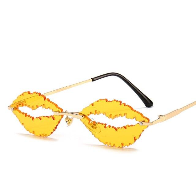 Купить 2021 модные уникальные дизайнерские без оправы с губами солнцезащитные картинки цена