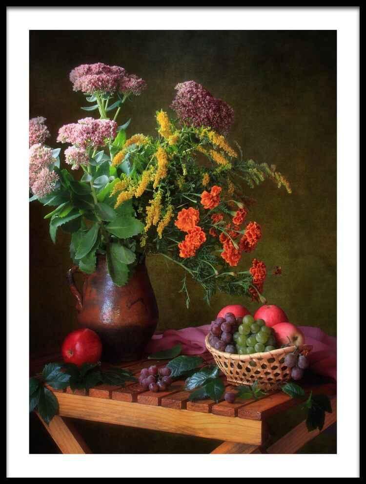 -Três Combinação imagem Rainha Ainda Vida Com Rose e Bagas Cão Cartaz Pinturas Lona do Óleo para Decoração Da Parede Da Cozinha