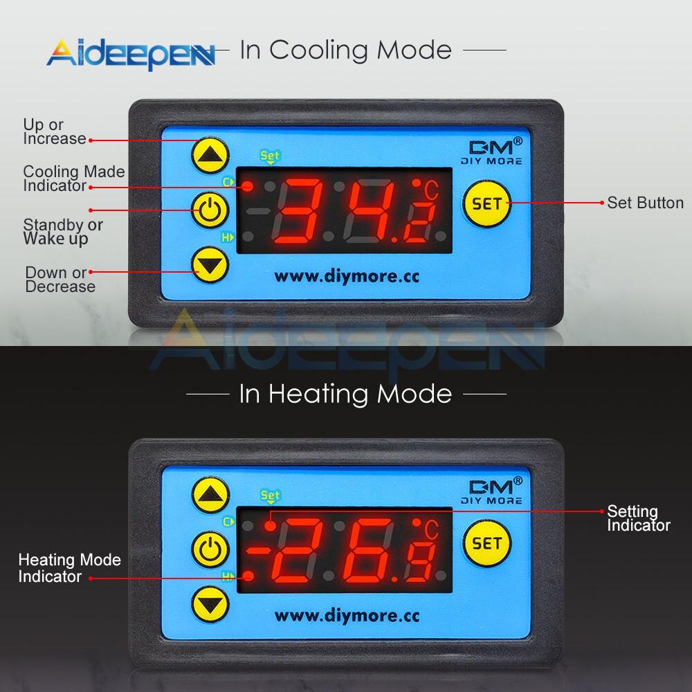 H7159d85c6f6f422cbc2de944b915846fL W3230 AC 110V-220V DC12V 24V Digital Thermostat Temperature Controller Regulator Heating Cooling Control Instruments LED Display