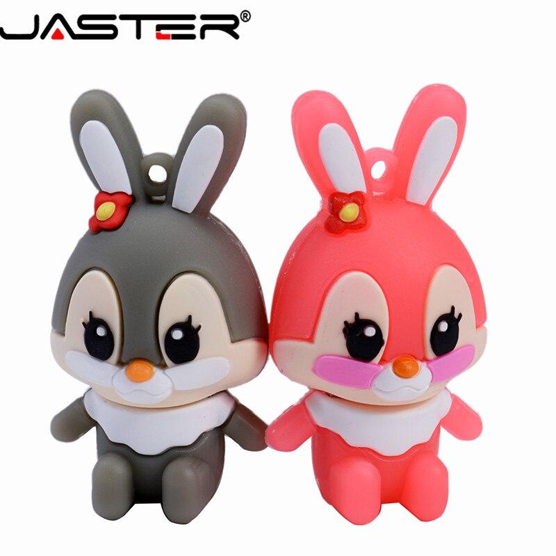 JASTER Promotional Mini Cartoon External Storage USB 2.0 4GB 8GB 16GB 32GB 64GB Cute Bunny Notes USB Flash Drive