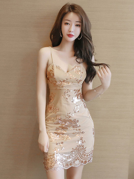 Summer sexy nightclub V-neck low-cut open-back skinny hot bronzing open-cut strap dress цена 2017