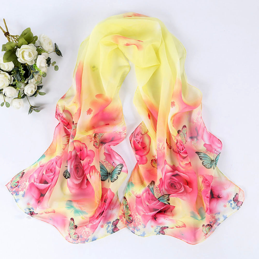 Beautiful Womens New Peony Pattern Long Stole   Scarves   Shawl   Scarf   Women's   Scarves     Wrap   Poncho Embroidery Neckerchief Tippet#