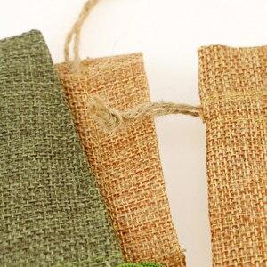 Image 5 - 9 * 12cm imitation linen bunch pocket wedding holiday Christmas gift bag jewelry nut linen bag 100pcs