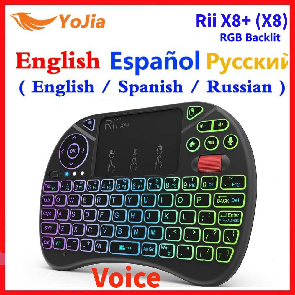 2.4G Wireless Voice Air Mouse Remote Rii X8+ ( X8) RGB Backlit Keyboard Russian English Spanish i8 keyboard for Android TV box|Keyboards| - AliExpress