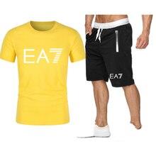 2021 Popular New Printed Pure Cotton Men'S T -Shirt +Sports Shorts Set High Quality Sports Running XXL