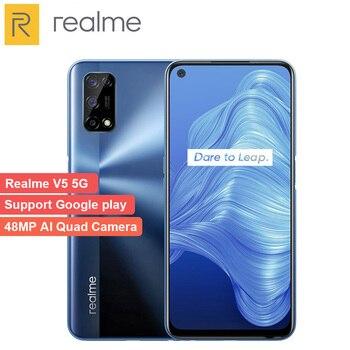 Перейти на Алиэкспресс и купить Оригинал Realme V5 6GB 128GB Dimensity 720 Смартфон 5G 6,5 Дюймов 90 Гц полный дисплей 5000mAh 48MP Quad Camera 30W быстрое зарядное устройство