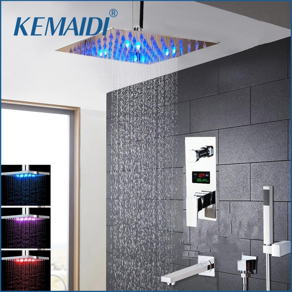 KEMAIDI Chrome Brass LED Shower Head Digital Display Mixer Taps Bathroom Shower Faucet 3-Functions Digital Shower Faucets Set