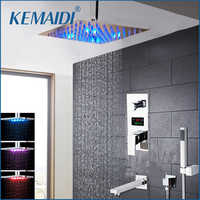 KEMAIDI Chrome Brass LED Shower Head Digital Display Mixer Taps Bathroom Shower Faucet 3-Functions Digital Shower Faucets Set