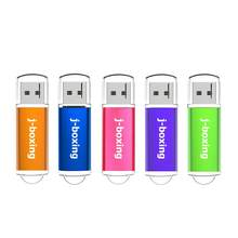 J-Boxeo unidad Flash USB rectángulo Pendrive con tapa USB 2,0 de memoria 1GB 2GB 4GB 8GB 16GB 32GB para PC Multicolor 5 unids/pack