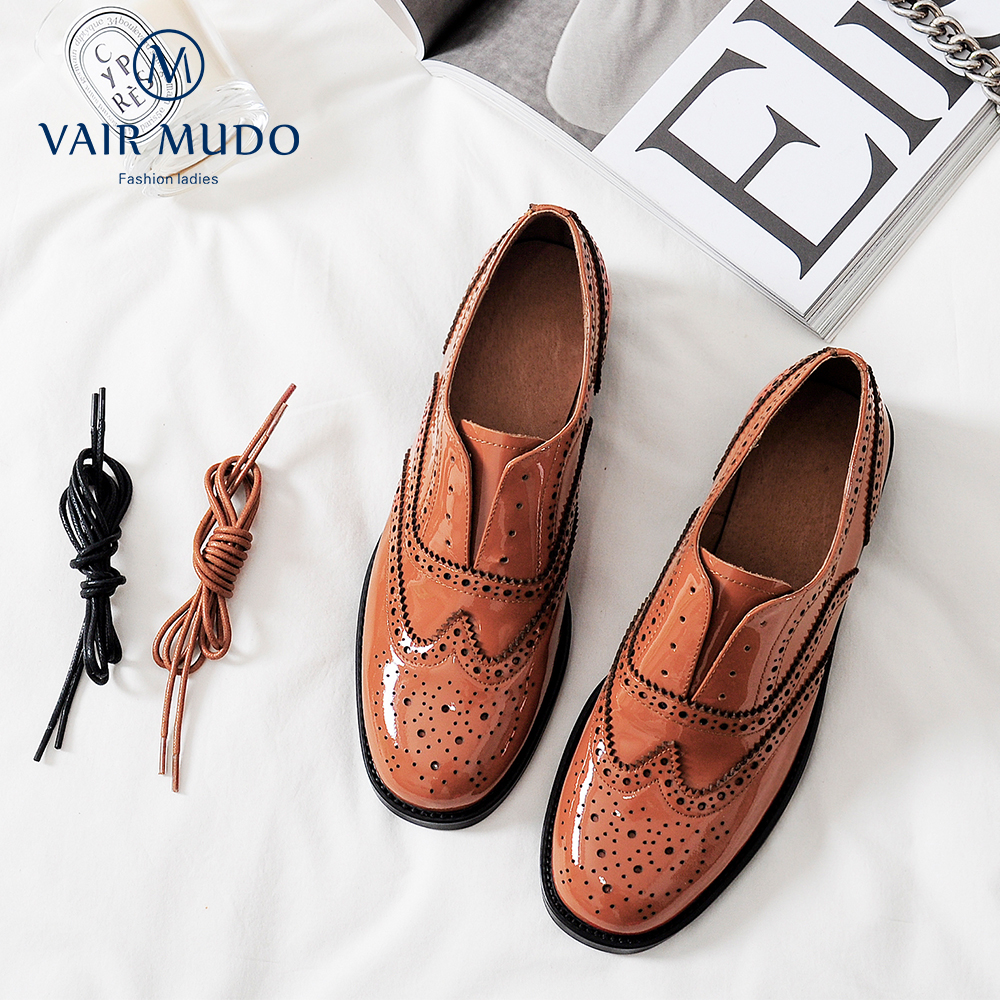 VAIR MUDO New Fashion Spring Autumn Summer Women Shoes Low Heel Genuine Leather Romantic Lace-Up Casual Single Shoes D23L