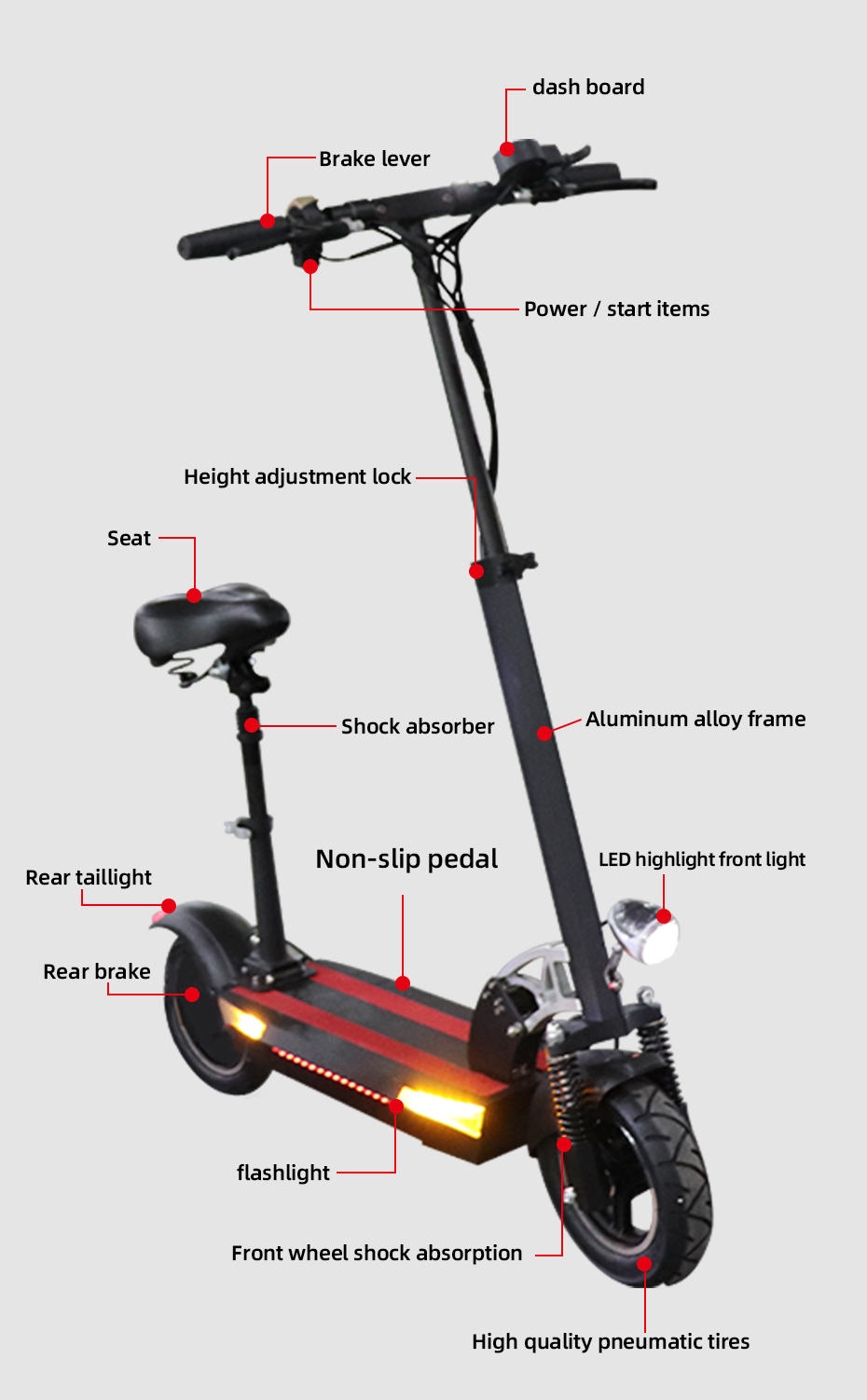 10 inch fat tire 48V 500W Motor Wheel Electric Scooter 26AH Lithium Battery Adult Electric Scooter with seat foldable hoverboard
