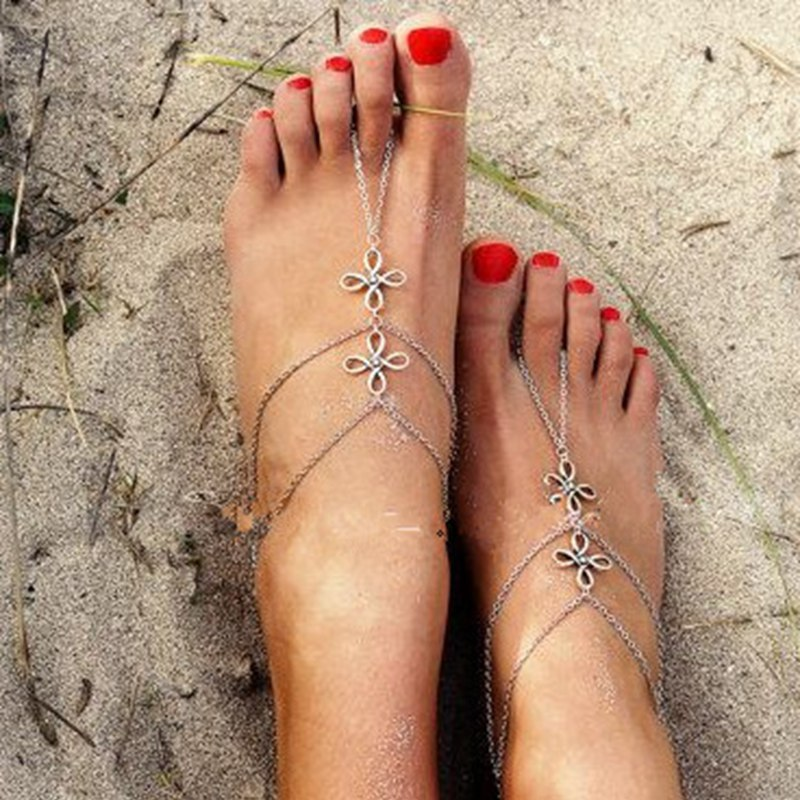 Summer Beach Ankle Bracelet Bohemian Multilayer Tassel Barefoot Sandals Boho Jewelry Anklet For Women Foot Bracelet Cheville 1pc