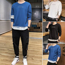 Fake Two Pieces Mens Sweatshirts Trends Printed O-Neck Long Sleeve Pullover