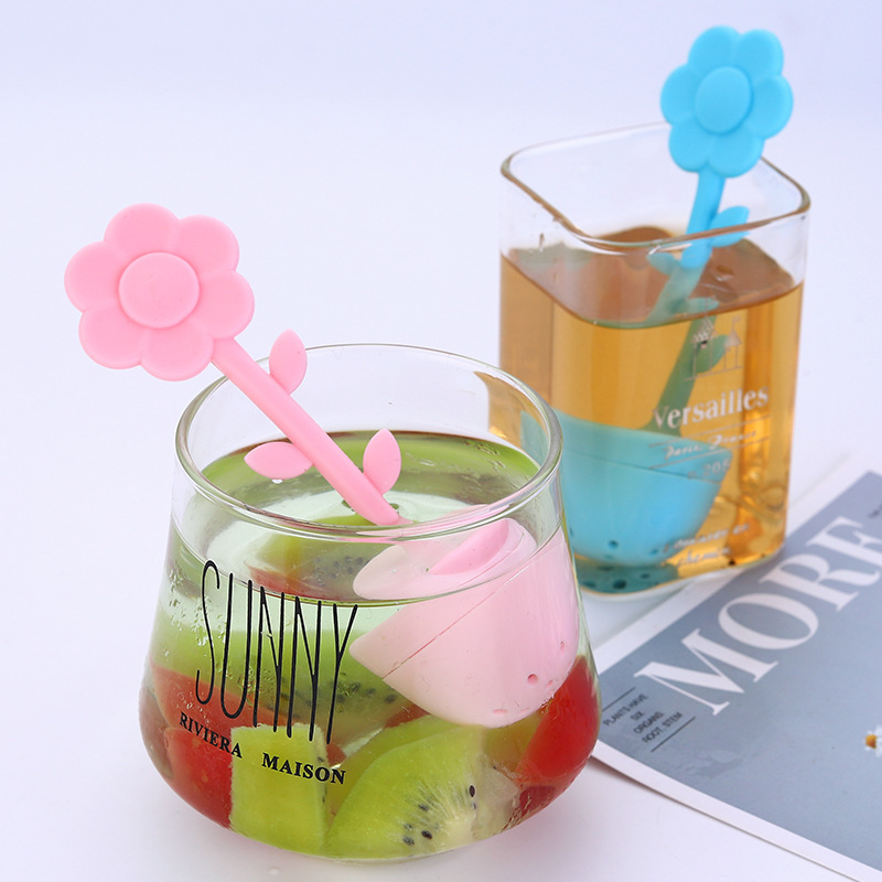 Creative Silicon Mesh Tea Infuser Flower Handle Ball Sphere Strainer For Teapot Herb Spice Filter Flour Sugar Cocoa Powder Sieve