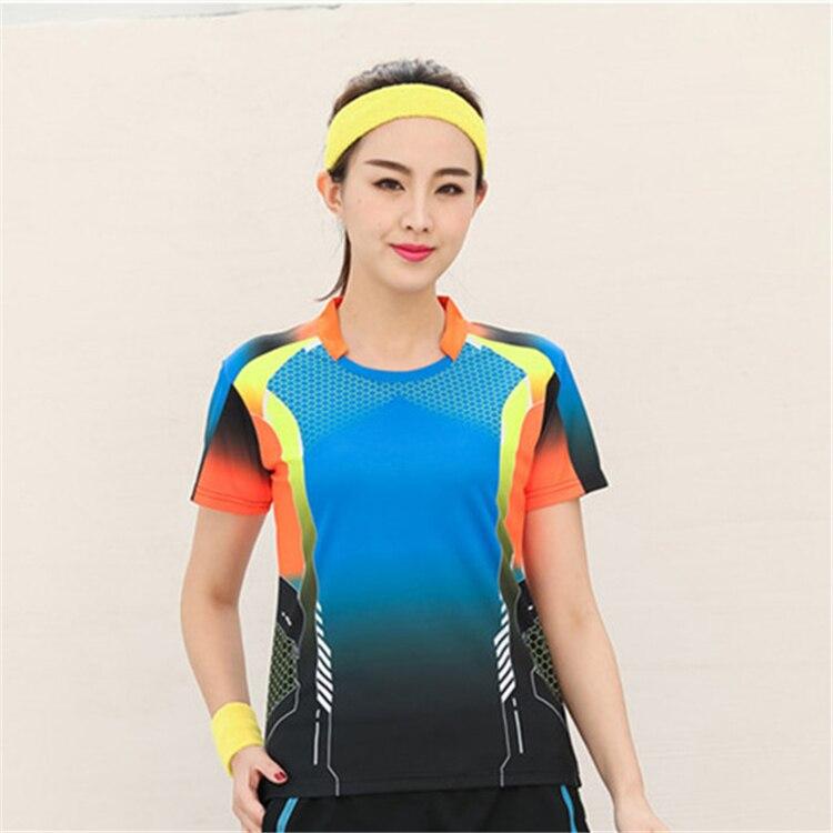 Быстросохнущая, впитывающая пот и дышащая рубашка для бадминтона, топ для соревнований, тренировочный костюм для бега, мужской и женский короткий рукав - Цвет: 1817Bfemale3