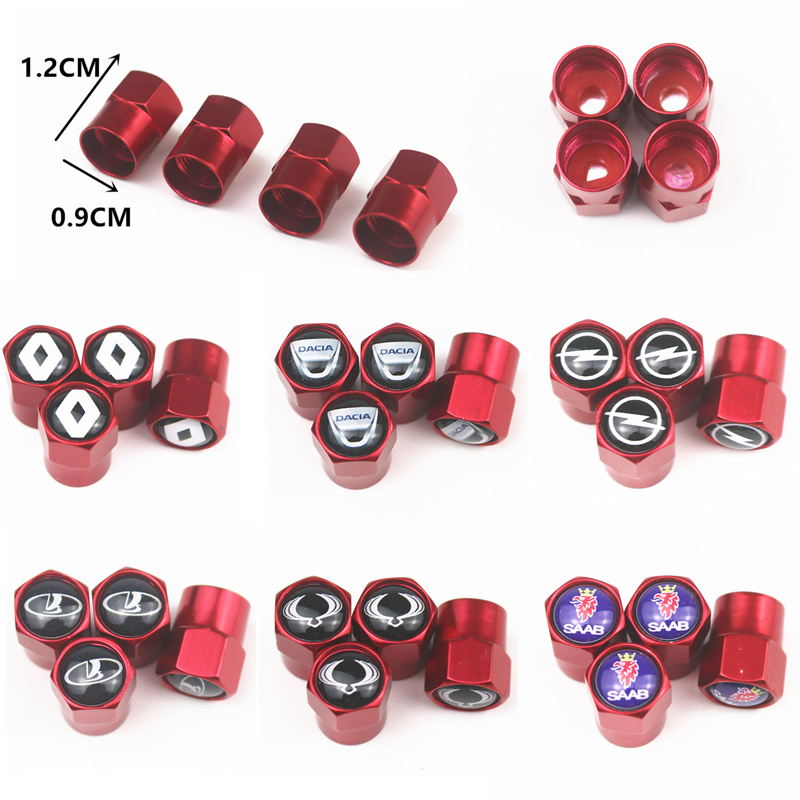 4pcs Metal Wheel Tire Red Valve Caps Case For Renault Toyota Vw Ford Skoda Mazda Opel Chevrolet Audi Bmw Car Accessories