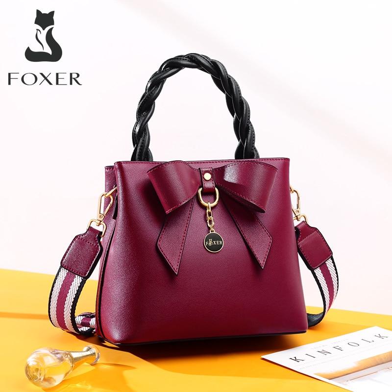 FOXER женская сумка на плечо, женская сумка через плечо из спилка, дизайнерская стильная женская сумка-мессенджер, элегантная сумка для молоды...