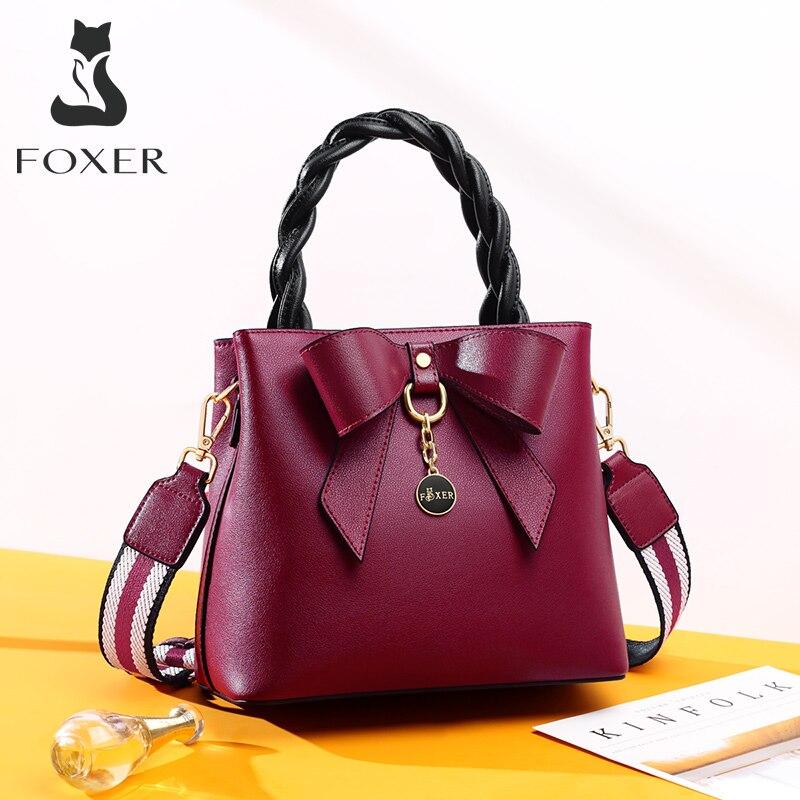 FOXER Ladies Shoulder Bag Female Split Leather Crossbody Bag Bow Designer Stylish Women Messenger Bag Young Lady Elegant Handbag