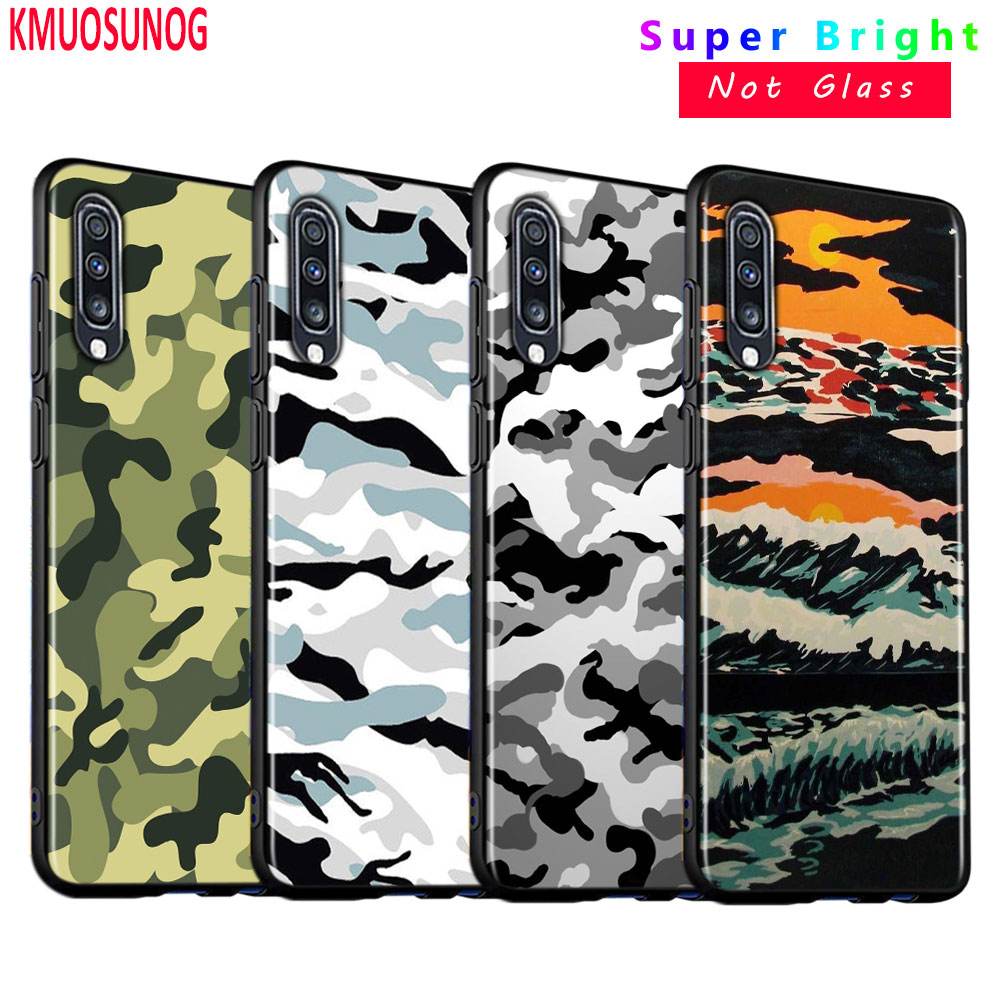 Army camo Camouflage for <font><b>Samsung</b></font> Galaxy A80 A70 A60 <font><b>A50</b></font> A40 A20E A2Core A10 Super Bright Glossy Black Phone <font><b>Case</b></font> image