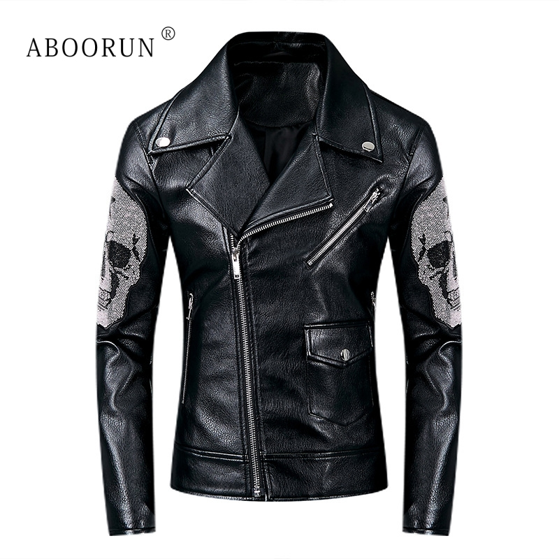 ABOORUN Men's Punk Leather Jackets Skull Beads Pleated Motorcycle Leather Jackets Black Skinny Biker Leather Coat For Male