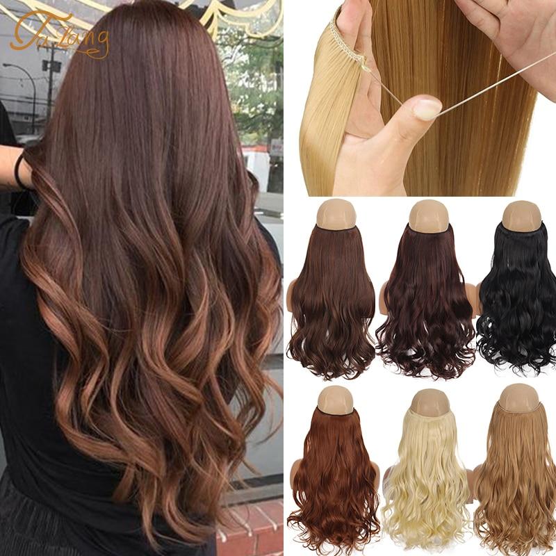 TaLang невидимая проволока без клипы в наращивание волос Secret рыба линия шиньоны Синтетические пряди для наращивания волос накладные волосы для Для женщин Синтетический цельный на клипсе      АлиЭкспресс