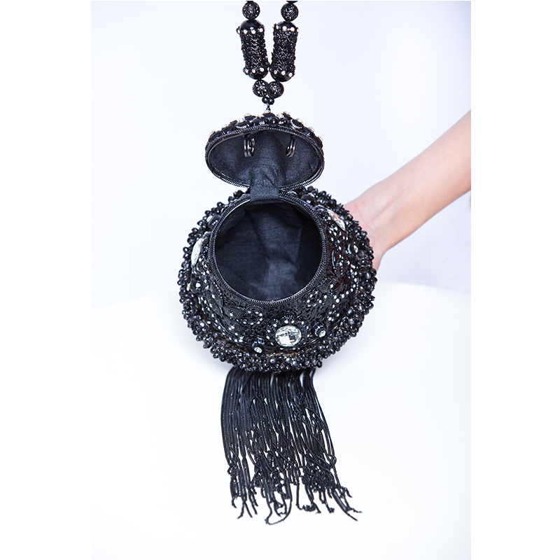 DOYUTIG, индийский стиль, женские клатчи ручной работы, стразы, бусины, дамские винтажные плетеные Длинные вечерние сумки с кисточками для свадьбы, F702 - 5