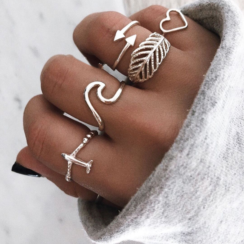 docona 5pcs/set Leaf Heart Wave Airplane Rings Set for Women Silver Alloy Midi Knuckle Rings Boho Jewelry Anillos 14548 image