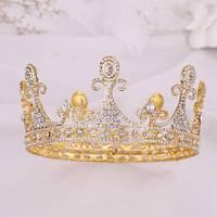 Crystal Crown Headdress Princess's Birthday Crown Gold Plating Fashion Rhinestone Party Jewelry Wedding Hair Ornament Crown Hot