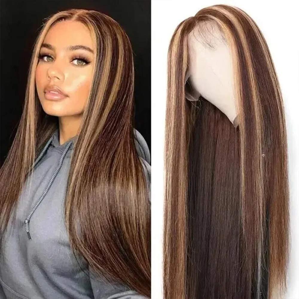 Peluca con encaje frontal para mujer cabello humano brasileño Remy, 13x4, rubio miel, marrón, prearrancado