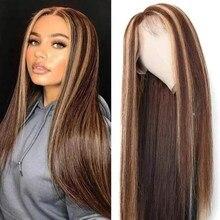 Destaque peruca frente do laço peruca de cabelo humano 13x4 mel loira marrom pré arrancado brasileiro remy perucas do laço para mulher