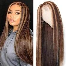 Hoogtepunt Pruik Lace Front Menselijk Haar Pruik 13X4 Honing Blond Bruin Pre Geplukt Braziliaanse Remy Lace Pruiken Voor vrouwen