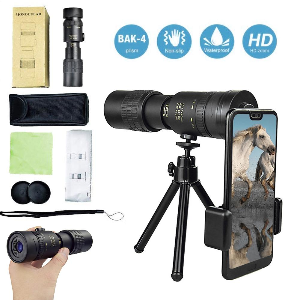 Camera - 4K 10-300X40MM Super Telephoto Zoom Monocular Telescope Waterproof for Smart Phones Bird Watching/ Hunting/ Camping