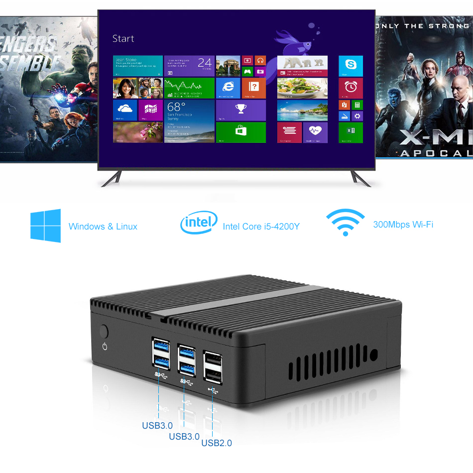 Fanless Mini PC Intel Core i7 i5 4200Y Computer HTPC Windows 10 7 Linux Micro Desktops Nettop NUC MINIPC Sobremesa thin Client