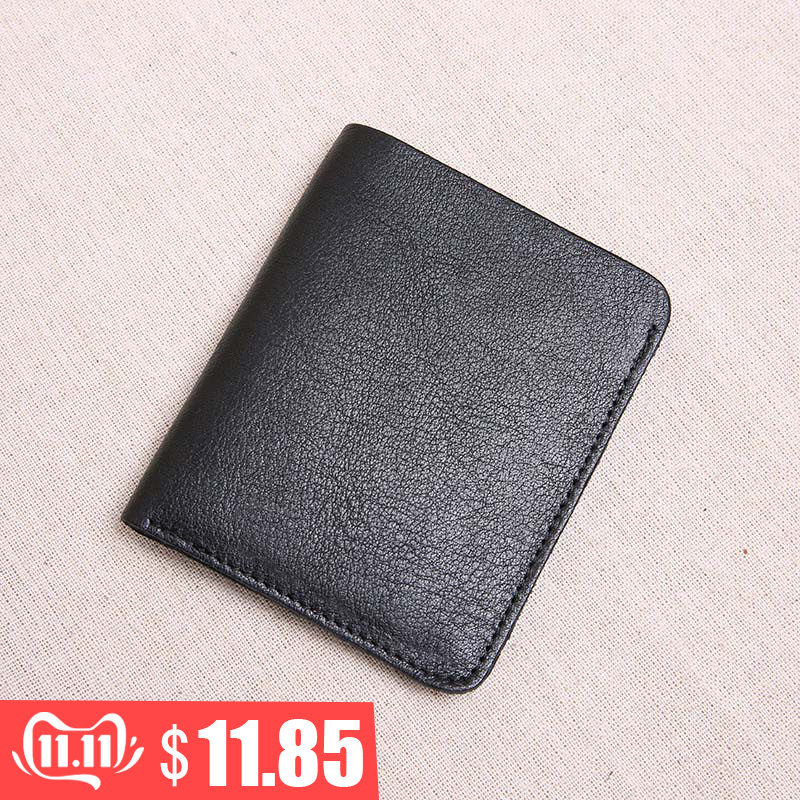 AETOO  The First Layer Of Leather Ultra-thin Mini Wallet Men's Vertical Student Handmade Wallet Soft Leather
