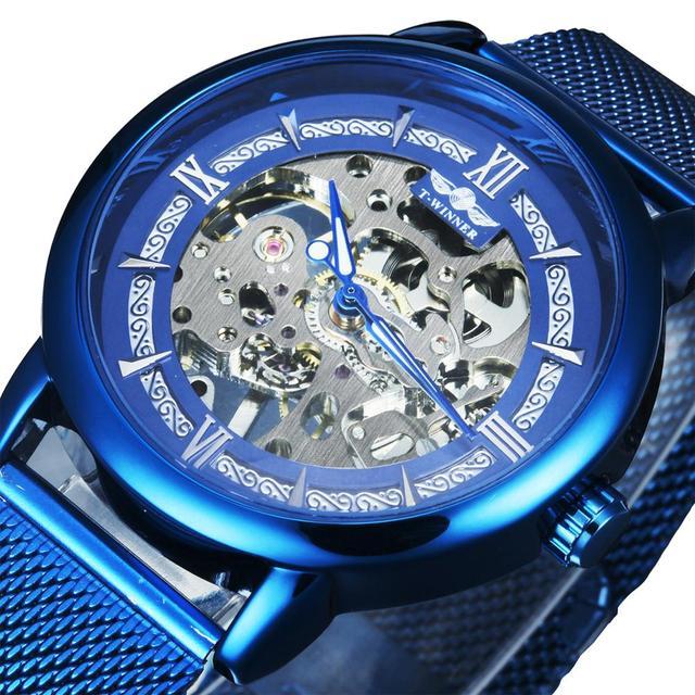 WINNER Official Mechanical Watch Men Blue Silver Mesh Strap Super Thin Case Skeleton Top Brand Luxury Classic Business Elegant