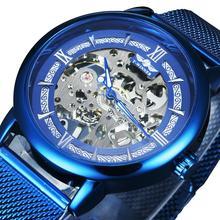Zwycięzca oficjalny mechaniczny zegarek męski niebieski srebrny siateczkowy pasek Super cienkie etui szkielet Top marka luksusowa klasyczna elegancka, biznesowa