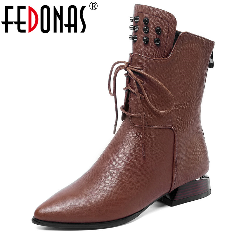 FEDONAS Quality Genuine Leather Female Short Boots Winter Warm Women Ankle Boots Night Club Shoes Woman Rivets Chelsea Boots