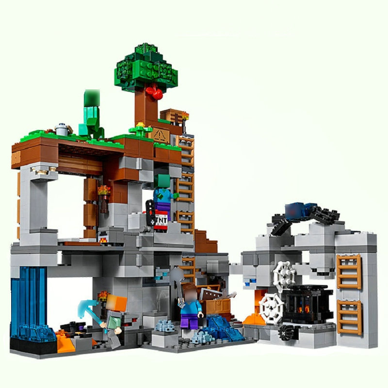 The Bedrock Adventures Building Blocks With Steve Action Figures Compatible My World MinecraftINGlys Sets Toys 21147Blocks   -