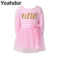 Kids Girls Long Sleeve Glitter One Printed Striped Bodice Tulle Princess Dress Baby Girl Birthday Party Holiday Casual Dress
