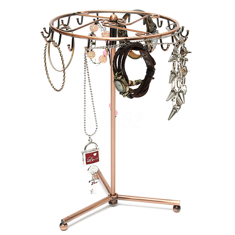 Jewelry Rotating Ring Display Holder Organizer Necklace Stand Rack 23 Hooks