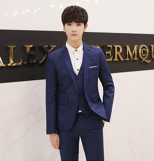 Suit Men Casual Youth Two-Piece Set Slim Fit Handsome Korean-style Trend Small Suit Groom Marriage Formal Dress