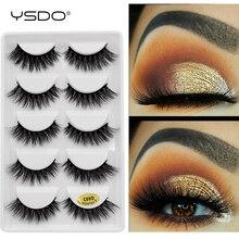 YSDO lashes mink eyelashes 5 pairs eyelashes hand made 3d mink lashes makeup mink strip lashes natural long false eyelashes G6+7 mink keer 5 s