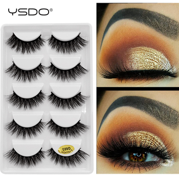 YSDO lashes mink eyelashes 5 pairs eyelashes hand made 3d mink lashes makeup mink strip lashes natural long false eyelashes G6+7