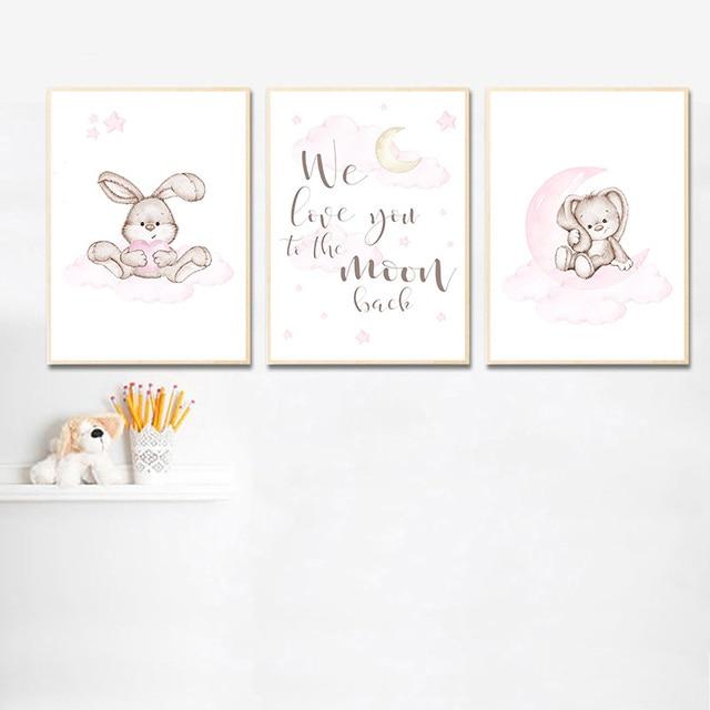 Rosa Coniglio Cartone Animato Bambino Poster Bunny Luna Nursery Citazioni di Arte della Tela di Canapa Pittura Murale di Stampa Nordic Decorazione Della Stanza Del Bambino Del Capretto