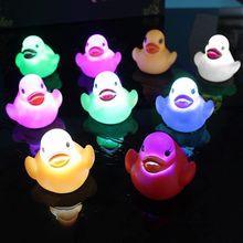 LED Flashing Light Rubber Floating Duck Bathtub Shower Toy For Kids Children AXYA