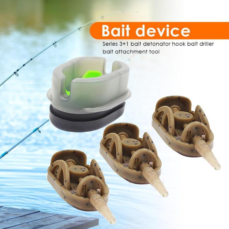 Portable 3+1 Inline Method Carp Fishing Bait Basket Feeders Mould Set