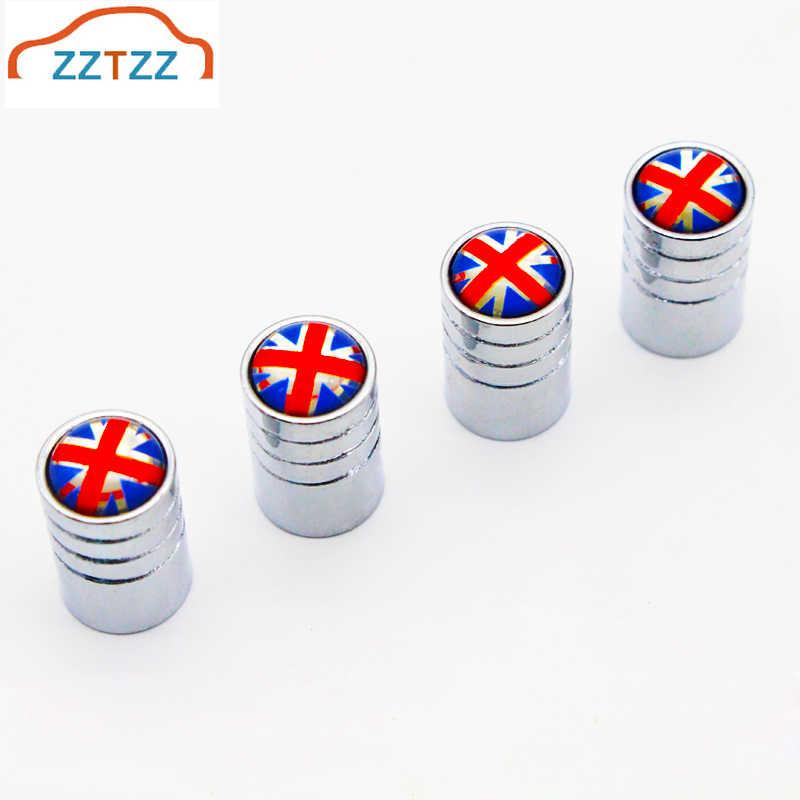Zztzz 4 Buah/Banyak Bendera Inggris Moto Sepeda Ban Mobil Tutup Katup Roda Penutup Debu Mobil Styling
