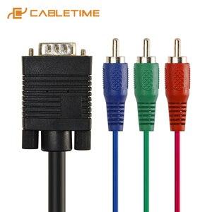 Cabletime Vga Naar 3 Rca Audio Kabel 3RCA Tv Av Adapter Kabel Voor Pc Laptop Hdtv Dvd Tv Rgb Display drop Verzending C222
